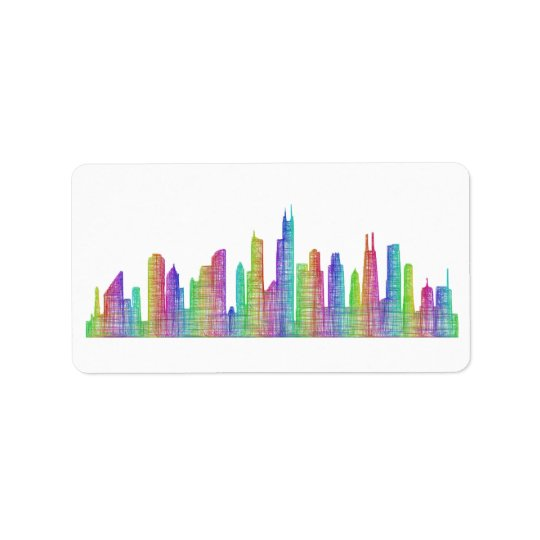 Chicago city skyline address label