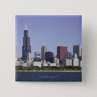 Chicago city skyline with Lake Michigan 15 Cm Square Badge