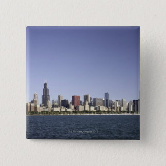 Chicago city skyline with Lake Michigan 2 15 Cm Square Badge