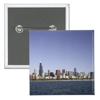 Chicago city skyline with Lake Michigan 2 15 Cm Square Badge