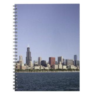 Chicago city skyline with Lake Michigan 2 Note Books