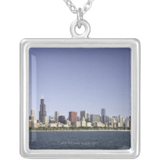 Chicago city skyline with Lake Michigan 2 Silver Plated Necklace