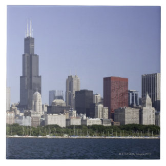 Chicago city skyline with Lake Michigan Large Square Tile
