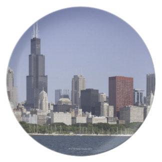 Chicago city skyline with Lake Michigan Plate