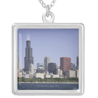 Chicago city skyline with Lake Michigan Square Pendant Necklace