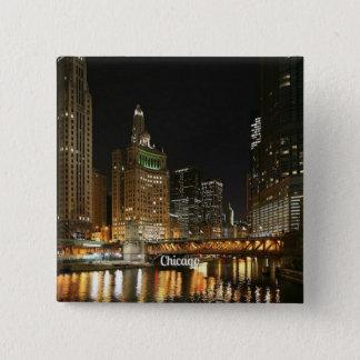 Chicago cityscape 15 cm square badge