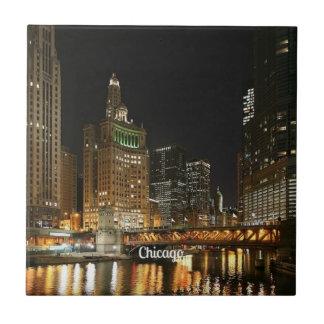 Chicago cityscape small square tile
