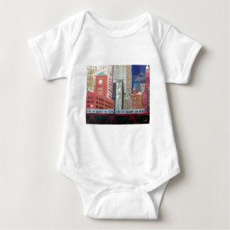 Chicago Cityscape with El Train Baby Bodysuit