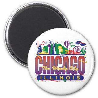 Chicago-Confetti 6 Cm Round Magnet
