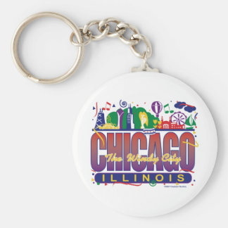 Chicago-Confetti Basic Round Button Key Ring