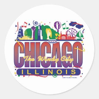 Chicago-Confetti Classic Round Sticker