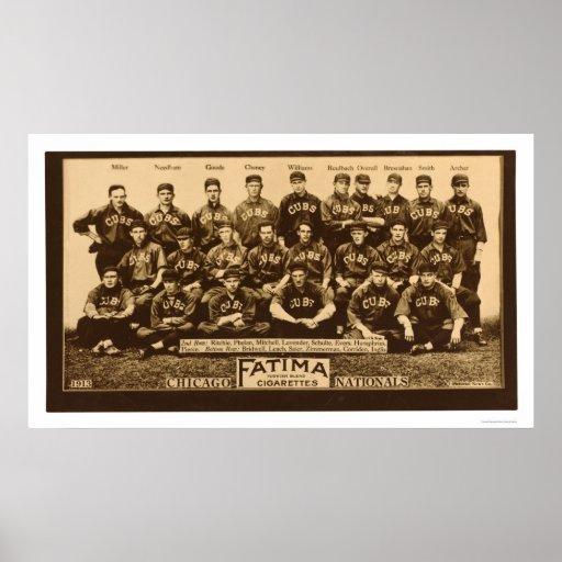 Chicago Cubs Baseball 1913 Poster