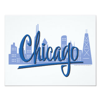 "CHICAGO-Dark-Blue 4.25"" X 5.5"" Invitation Card"