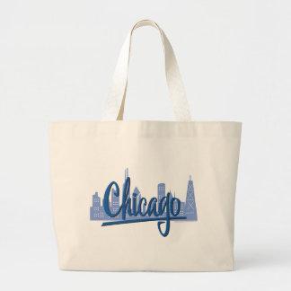 CHICAGO-Dark-Blue Large Tote Bag