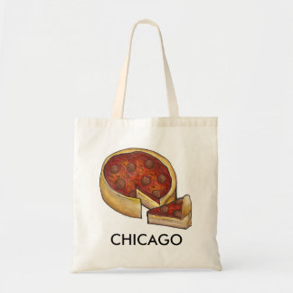 Chicago Deep Dish Pepperoni Cheese Pizza Lover Tote Bag