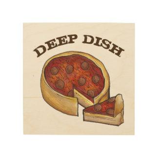 Chicago Deep Dish Pepperoni Pizza Kitchen Food Wood Wall Decor