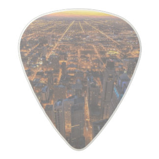 Chicago downtown at sunset acetal guitar pick