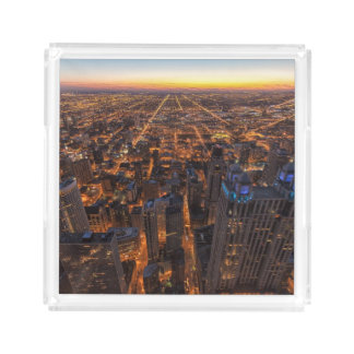 Chicago downtown at sunset acrylic tray
