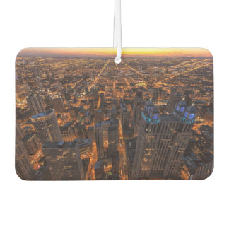 Chicago downtown at sunset car air freshener