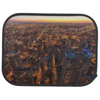 Chicago downtown at sunset car mat
