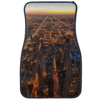 Chicago downtown at sunset car mat