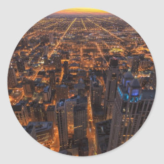 Chicago downtown at sunset classic round sticker