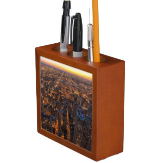 Chicago downtown at sunset desk organiser