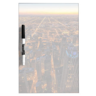 Chicago downtown at sunset dry erase board