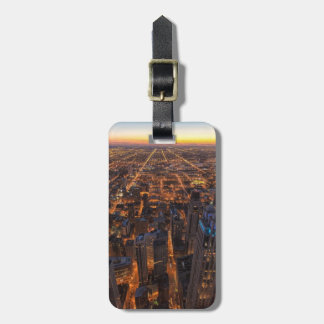 Chicago downtown at sunset luggage tag