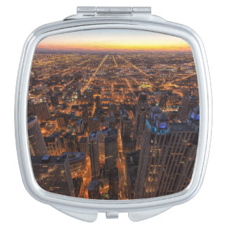 Chicago downtown at sunset makeup mirror