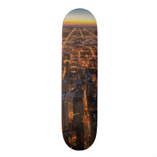Chicago downtown at sunset skateboard