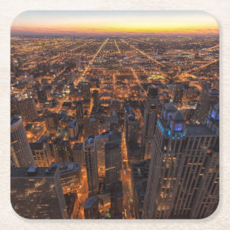Chicago downtown at sunset square paper coaster