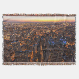 Chicago downtown at sunset throw blanket