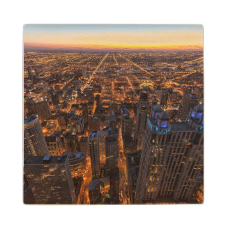 Chicago downtown at sunset wood coaster