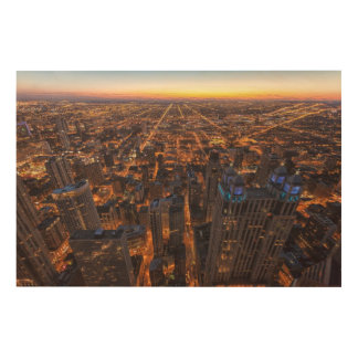 Chicago downtown at sunset wood print