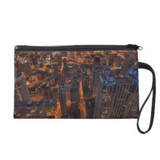 Chicago downtown at sunset wristlet clutches