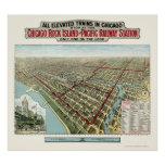 Chicago Elevated Trains, IL Panoramic Map - 1893 Poster