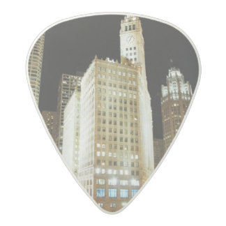Chicago famous landmark at night acetal guitar pick
