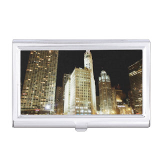 Chicago famous landmark at night business card holder