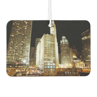 Chicago famous landmark at night car air freshener