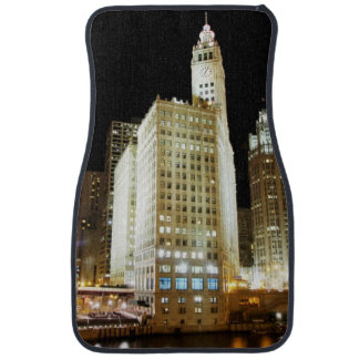 Chicago famous landmark at night car mat