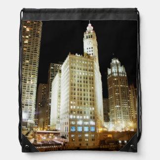 Chicago famous landmark at night drawstring bag
