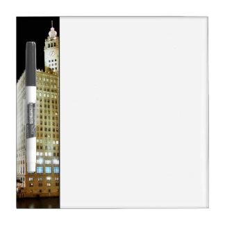 Chicago famous landmark at night dry erase board