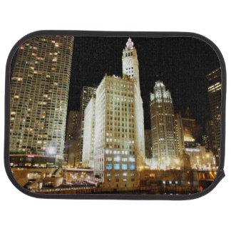 Chicago famous landmark at night floor mat