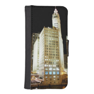 Chicago famous landmark at night iPhone SE/5/5s wallet case