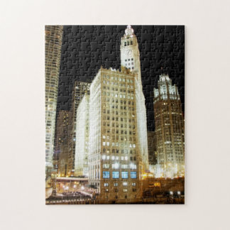 Chicago famous landmark at night jigsaw puzzle