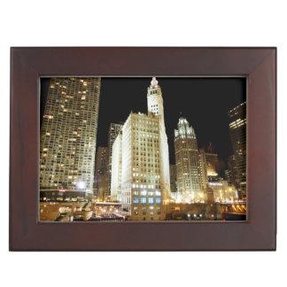 Chicago famous landmark at night keepsake boxes