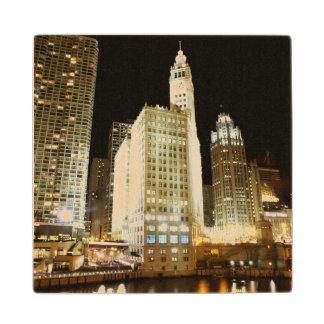 Chicago famous landmark at night maple wood coaster