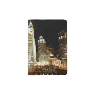 Chicago famous landmark at night passport holder