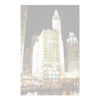 Chicago famous landmark at night personalized stationery